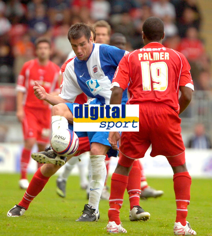Photo: Ed Godden/Sportsbeat Images.<br /> Leyton Orient v Hartlepool United. Coca Cola League 1. 22/09/2007. Hartlepool's Richard Barker sends the ball forward.
