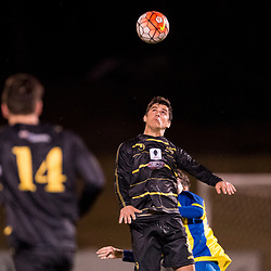 BRISBANE, AUSTRALIA - AUGUST 26: Matthew Capelo of Moreton Bay heads the ball during the NPL Queensland Senior Men's Semi Final match between Brisbane Strikers and Moreton Bay Jets at Perry Park on August 26, 2017 in Brisbane, Australia. (Photo by Patrick Kearney)