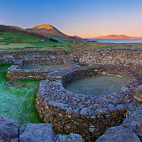 Frosty Morning Sunrise at Loher Ring fort nearby Waterville County Kerry Ireland / wv065