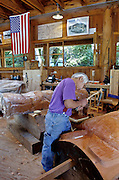 Ketchikan, Alaska. Nathan Jackson, Tlingit totem carver in his studio.