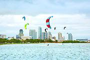 Kitesurfing on Tampa Bay in Lassing Park, Saint Petersburg, Florida.