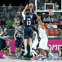 31 July 2012: Andres Nocioni of Argentina takes a jumpshot during 71-64 Team France victory over Team Argentina, during the men's basketball preliminary, at the Basketball Arena, in London, Great Britain.