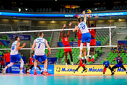 Tine Urnaut of Slovenia vs Jesus Herrera Jaime of Cuba, Roamy Raul Alonso Arce of Cuba and Marlon Yang Herrera of Cuba during volleyball match between Cuba and Slovenia in Final of FIVB Volleyball Challenger Cup Men, on July 7, 2019 in Arena Stozice, Ljubljana, Slovenia. Photo by Matic Klansek Velej / Sportida