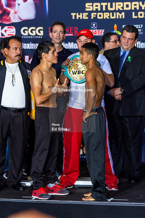 """INGLEWOOD, CA - MAY 15: Undefeated WBC Flyweight World Champion Roman """"Chocolatito"""" Gonzalez (42-0-0, 36 KOs) and #2 Ranked Flyweight Contender Edgar Sosa (51-8-2, 30 KOs ) stopped the scale at 111lbs and 122.2lbs respectively. Edgar had two hour to make weight, which he did. Gonzalez vs Sosa on May 16, 2015 at the Forum in Los Angeles, California and telecast on HBO Word Championship Boxing beginning at 10:00pm ET/PT. 2015 May 15. Byline, credit, TV usage, web usage or linkback must read SILVEXPHOTO.COM. Failure to byline correctly will incur double the agreed fee. Tel: +1 714 504 6870."""