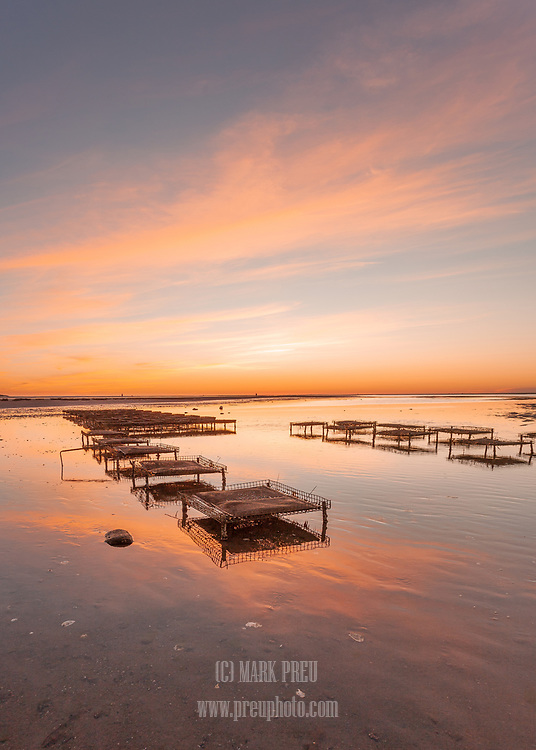 Sunset at low tide with an oyster farm at Mant's Landing, Brewster