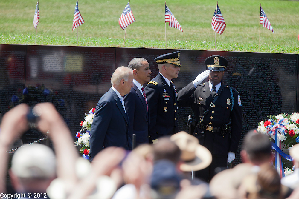 Vice President Joe Biden, President Barack Obama arrive during the United States of America Vietnam War Commemoration National Announcement and Proclamation Ceremony at the Vietnam Veterans Memorial Wall.