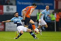 Blackpool's Jack Payne vies for possession with Luton Town's Danny Hylton<br /> <br /> Photographer Craig Mercer/CameraSport<br /> <br /> The EFL Sky Bet League Two Play-Off Semi Final Second Leg - Luton Town v Blackpool - Thursday 18th May 2017 - Kenilworth Road - Luton<br /> <br /> World Copyright © 2017 CameraSport. All rights reserved. 43 Linden Ave. Countesthorpe. Leicester. England. LE8 5PG - Tel: +44 (0) 116 277 4147 - admin@camerasport.com - www.camerasport.com