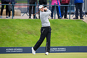 3rd October 2018, The Old Course, St Andrews, Scotland; Alfred Dunhill Links Championship, practice day; Martin Kaymer of Germany plays his shot from the tee on the first hole of the Old Course, St Andrews during a practice round at the Alfred Dunhill Links Championship