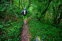France, Pyrénées-Atlantiques (64), pays basque, Haute-Soule, Sainte-Engrâce, les gorges d'Ehujarre, Robert Larrandaburu guide de montagne  // France, Pyrénées-Atlantiques (64), Basque country, Haute-Soule, Sainte-Engr Grâce, the Ehujarre gorges