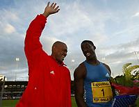 Friidrett, 28. juni 2002, Golden League - Bislett Games, Oslo. Maurice Greene and Dwain Chambers.