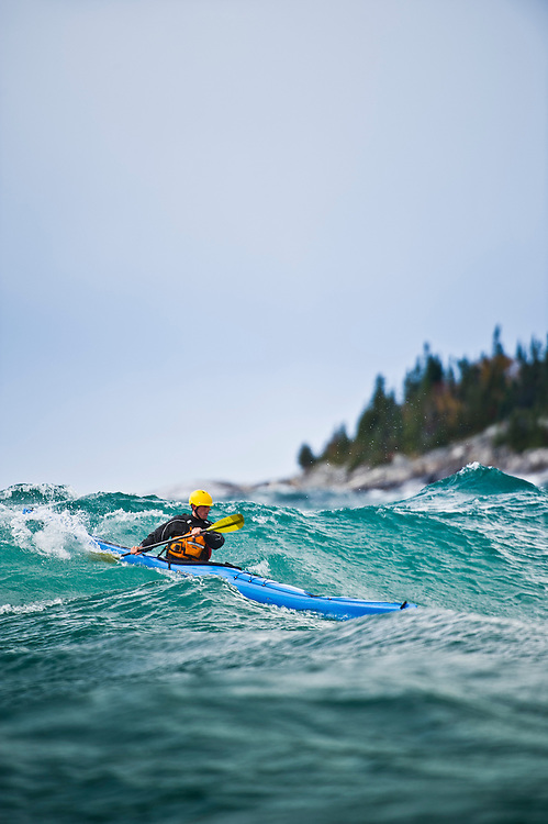 Rough water storm paddling on Lake Superior in Ontario Canada.