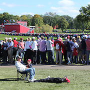 Ryder Cup 2016. Young fans rest on the seventeenth in front of massive crowds during practice day at the Hazeltine National Golf Club on September 29, 2016 in Chaska, Minnesota.  (Photo by Tim Clayton/Corbis via Getty Images)