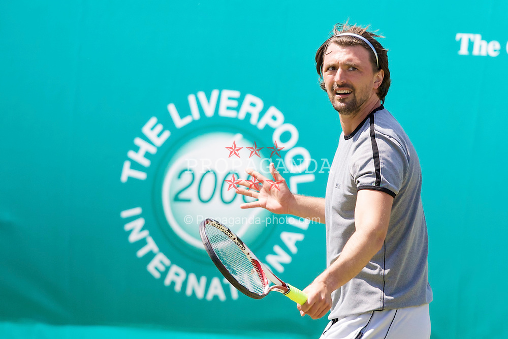 LIVERPOOL, ENGLAND - Tuesday, June 10, 2008: Goran Ivanisevic (CRO) during the Legends' Singles on the opening day of the Tradition-ICAP Liverpool International Tennis Tournament at Calderstones Park. (Photo by David Rawcliffe/Propaganda)