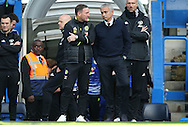 Jose Mourinho, the Manchester United manager talking to Steve Holland, the Chelsea assistant manager before k/o. Premier league match, Chelsea v Manchester Utd at Stamford Bridge in London on Sunday 23rd October 2016.<br /> pic by John Patrick Fletcher, Andrew Orchard sports photography.