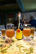 Gammel Dansk bitter dram with local beer in glasses at Sonderho Kro Hotel and Restaurant, Fano Island, South Jutland, Denmark