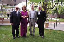 Left to right, LORD PALUMBO, JULIA PEYTON-JONES, HANS ULRICH OBRIST and ALI YUSSEF KHADRA at the annual Serpentine Gallery Summer Party sponsored by Canvas TV  the new global arts TV network, held at the Serpentine Gallery, Kensington Gardens, London on 9th July 2009.