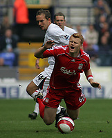 Photo: Paul Thomas.<br /> Bolton Wanderers v Liverpool. The Barclays Premiership. 30/09/2006.<br /> <br /> John Arne Riise (Red) is fouled by Kevin Davis (14).