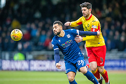 Dundee's Kane Hemmings and Partick Thistle's Thomas O'Hare. Dundee 2 v 0 Partick Thistle, Scottish Championship game played 8/2/2020 at Dundee stadium Dens Park.