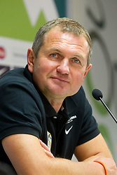 Matjaz Kek, head coach of Slovenia during press conference after football match between National Teams of Slovenia and Serbia of UEFA Euro 2012 Qualifying Round in Group C on October 11, 2011, in Stadium Ljudski vrt, Maribor, Slovenia.  Slovenia defeated Serbia 1-0. (Photo by Vid Ponikvar / Sportida)