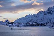 Scenic winter landscape of mountain range, Nesna, Norway