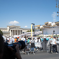 Photographer takes photos as Pope Francis celebrates mass for the closing of the International Eucharistic Congress held on Heroes Square in Budapest, Hungary on Sept. 12, 2021. ATTILA VOLGYI