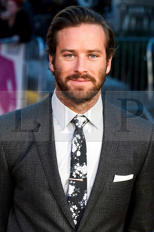 © Licensed to London News Pictures. 16/10/2016. London, UK. Photo credit: ARMIE HAMMER attends the film premiere of Free Fire showing at The London Film Festival. Ray Tang/LNP