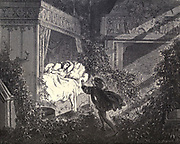 "Every step he nearer set, Oped the eyes of violet."" Illustration from 'The Sleeping Beauty' by Paul Gustave Doré (1832-1883). The prince about to awaken the Princess from her 100 year slumber with a kiss. From the book Fairy realm. A collection of the favourite old tales. Illustrated by the pencil of Gustave Dore by Tom Hood, (1835-1874); Gustave Doré, (1832-1883) Published in London by Ward, Lock and Tyler in 1866"