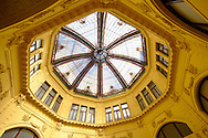 Octogon and its stained glass roof, the First Savings Bank of Croatia building [ 1898-1900 ]. , Zagreb, Croatia .<br /> <br /> Visit our CROATIA HISTORIC SITES PHOTO COLLECTIONS for more photos to download or buy as wall art prints https://funkystock.photoshelter.com/gallery-collection/Pictures-Images-of-Croatia-Photos-of-Croatian-Historic-Landmark-Sites/C0000cY_V8uDo_ls
