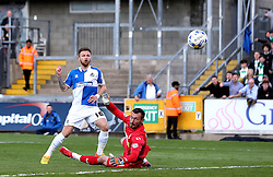 Matt Taylor of Bristol Rovers puts his shot past Artur Krysiak of Yeovil Town but wide of the goal - Mandatory by-line: Robbie Stephenson/JMP - 16/04/2016 - FOOTBALL - Memorial Stadium - Bristol, England - Bristol Rovers v Yeovil Town - Sky Bet League Two
