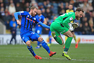 Oak Alnwick saves under pressure from Matty Done during the EFL Sky Bet League 1 match between Rochdale and Scunthorpe United at Spotland, Rochdale, England on 23 March 2019.