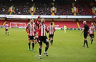 Kieron Freeman of Sheffield Utd celebrates scoring the winning goal during the English League One match at Bramall Lane Stadium, Sheffield. Picture date: December 31st, 2016. Pic Simon Bellis/Sportimage