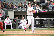 CHICAGO - MAY 10:  Gordon Beckham #15 of the Chicago White Sox uses a pink bat while batting against the Cincinnati Red on May 10, 2015 at U.S. Cellular Field in Chicago, Illinois.  (Photo by Ron Vesely)   Subject:   Gordon Beckham