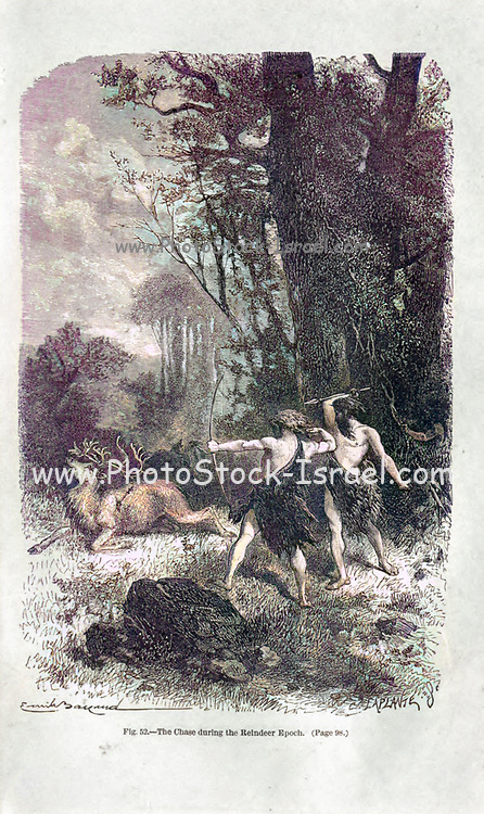 Machine colorised image of the Chase, (hunt) during the Reindeer epoch according to the French illustrator Emile Bayard (1837-1891), illustration Artwork published in Primitive Man by Louis Figuier (1819-1894), Published in London by Chapman and Hall 193 Piccadilly in 1870