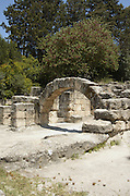 """The arch of the Synagogue at Beit sharim, Israel. The Jewish town of Beit She'arim flourished during the 2-4 centuries CE (the Roman period). The town of Beit She'arim became an important spiritual center when Rabbi Yehuda Hanasi (""""Rabbi""""), who was the spiritual authority of the time, made his home there. Rabbi was known as the sealer of the """"Mishna"""". Rabbi also moved the """"Sanhedrin"""" (the religious-judicial authority) to Beit She'arim. , Jezreel"""