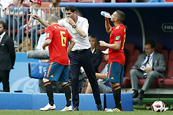 (l-r) Andres Iniesta of Spain, Spain coach Fernando Hierro, Koke of Spain during the 2018 FIFA World Cup Russia round of 16 match between Spain and Russia at the Luzhniki Stadium on July 01, 2018 in Moscow, Russia