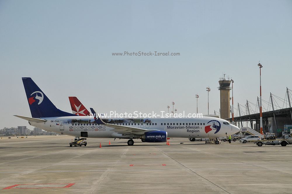 """Travel Service Airlines (Czech Republic) Boeing 737-800 painted in """"Moravian-Silesian Region"""" special colours OK-TVO. Photographed at Ben Gurion International Airport, Israel"""