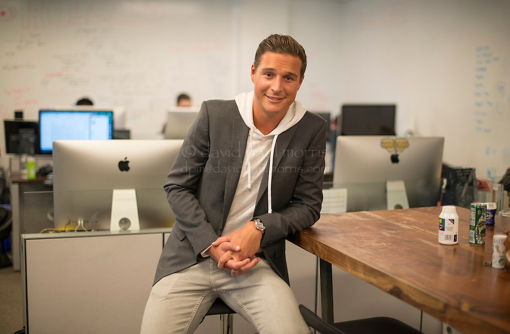David Wyler, Co-Founder & COO at Humin Inc., stands for a photograph inside the company's offices in San Francisco, California, U.S., on Thursday, Aug. 7, 2014. Photographer: David Paul Morris