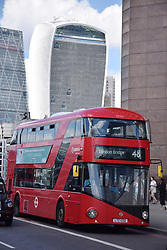 Bus on London Bridge.  In the background: City of London - 20 Fenchurch Street (Walkie Talkie building) and The Leadenhall Building (The Cheesegrater), London 2017