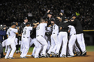 CHICAGO - SEPTEMBER 30:  The Chicago White Sox celebrate after the game against the Minnesota Twins at U.S. Cellular Field in Chicago, Illinois on September 30, 2008.  The White Sox defeated the Twins 1-0 to win the American League Central title.  The Sox and Twins had to play a one game playoff to determine the American League Central Champion.  (Photo by Ron Vesely)