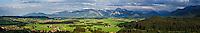 Panoramic view of Allgäu region from near Burg Eisenberg, Bavaria, Germany