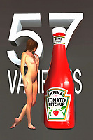 Heinz Ketchup is one of the most iconic brands in modern history. There are very few packaging designs that have maintained such a consistency through the generations. A Heinz ketchup bottle has seen very little change, over the course of the past several decades. This interesting fine art piece brings that famous visual to life. At the same time, this piece also combines that ketchup bottle with the striking visual of a nude woman. She is approaching the bottle, so we can't say for certain what the expression on her face might be. This is truly a piece that is designed to start a conversation..<br /> <br /> BUY THIS PRINT AT<br /> <br /> FINE ART AMERICA<br /> ENGLISH<br /> https://janke.pixels.com/featured/1-57-varieties-jan-keteleer.html<br /> <br /> WADM / OH MY PRINTS<br /> DUTCH / FRENCH / GERMAN<br /> https://www.werkaandemuur.nl/nl/shopwerk/Pop-Art---57-Varieties/438230/134
