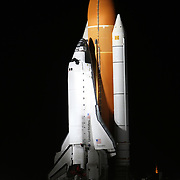 Space shuttle Discovery slowly makes it's way to Launch Pad 39a at the Kennedy Space Center in Cape Canaveral, Fla., Monday, Jan. 31, 2011. (AP Photo/Alex Menendez)