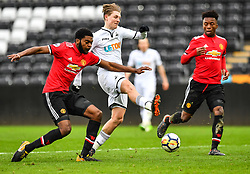 George Byers of Swansea City under pressure from Ro Shaun Williams of Manchester United - Mandatory by-line: Craig Thomas/Replay images - 18/03/2018 - FOOTBALL - Liberty Stadium - Swansea, England - Swansea City U23 v Manchester United U23 - Premier League 2 - Divison 1