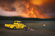 USA, Oregon, Cook County,American Dreamscapes Wildfire