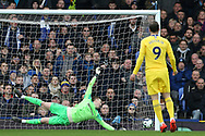 The post saves Everton goalkeeper Jordan Pickford (1) during the Premier League match between Everton and Chelsea at Goodison Park, Liverpool, England on 17 March 2019.