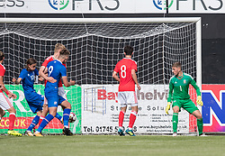 RHYL, WALES - Saturday, September 2, 2017: Iceland's Gudmundur Andri Tryggvason scores their third goal during an Under-19 international friendly match between Wales and Iceland at Belle Vue. (Pic by Gavin Trafford/Propaganda)