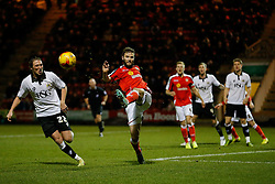 Jamie Ness of Crewe Alexandra clears from Luke Ayling of Bristol City - Photo mandatory by-line: Rogan Thomson/JMP - 07966 386802 - 20/12/2014 - SPORT - FOOTBALL - Crewe, England - Alexandra Stadium - Crewe Alexandra v Bristol City - Sky Bet League 1.