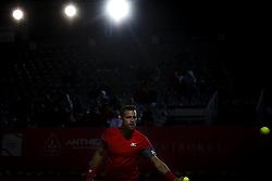 May 3, 2018 - Estoril, Portugal - Ricardo Ojeda Lara catches the ball during the Millennium Estoril Open tennis tournament in Estoril, outskirts of Lisbon, Portugal on May 1, 2018  (Credit Image: © Carlos Costa/NurPhoto via ZUMA Press)