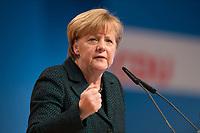09 DEC 2014, KOELN/GERMANY:<br /> Angela Merkel, CDU, Bundeskanzlerin, haelt ihre Rede als Parteivorsitzende der CDU, CDU Bundesparteitag, Messe Koeln<br /> IMAGE: 20141209-01-024<br /> KEYWORDS: Party Congress