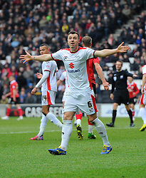 Milton Keynes Dons' Antony Kay appeals  - Photo mandatory by-line: Joe Meredith/JMP - Mobile: 07966 386802 - 07/02/2015 - SPORT - Football - Milton Keynes - Stadium MK - MK Dons v Bristol City - Sky Bet League One